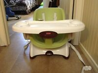 Space saving high chair and booster seat