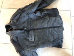 Black Icon Leather/padded Bike Jacket