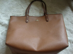 new coach leather reversible tote bag brown