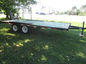 Newly built 15 ft flatbed utility trailer