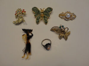 VINTAGE BROOCHES/PINS/RING