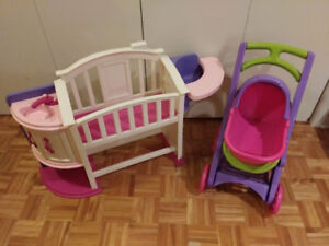Lit de bébé et poussette 3 en 1, chaise reine des neiges, lampe