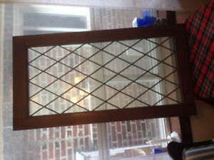 Two leaded glass cabinet windows 23 x 43""