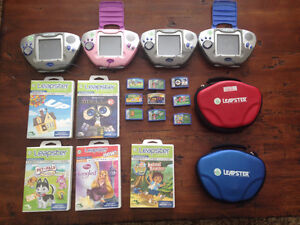 LEAPSTER CONSOLE (1 PINK), 15 GAMES AND 2 CASES