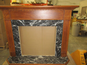 Wood mantle w. marble tile inlay