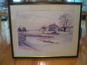 BEAUTIFUL OLD VINTAGE PROFESSIONALLY FRAMED PIECE of ART
