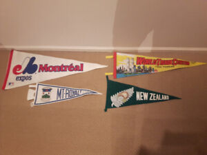 4 Old Vintages Pennant Banners All Over the World