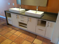 Immaculate Custom Double Sink Vanity with Quartz Top