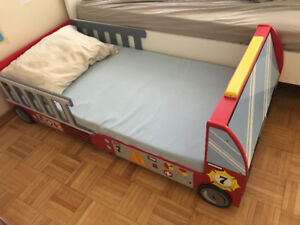 Moving sale: Preassembled Fire Truck Toddler Bed w/ mattress
