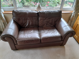 Real Leather 2 seater chocolate brown sofa