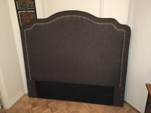 MINT QUEEN  HEADBOARD WOOD FRAME GREYw/STUDS-4.5 ft w/o legs