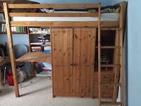 Pine high sleeper with wardrobe, shelve and draw unit and desk