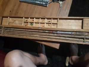 Antique bamboo 3 piece fly fishing rod box and flies