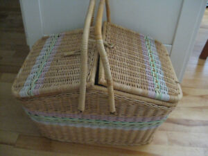LARGE WICKER (SEWING) BASKET