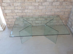Large beveled glass top with glass base coffee table for sale London Ontario image 7