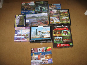 9 Puzzles plus one book,glue-Entire lot $10