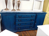 VINTAGE PAINTED SIDEBOARDS DRESSERS TABLES CHANDELIERS