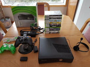 Xbox 360 console/2 controllers/games/headset/charger