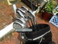 Set of Ben sayer Left handed golf irons trolly and bag