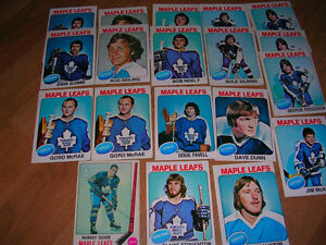 Hockey cards. 19 Toronto Maple Leafs O.P.C. Ptd. in Canada '70's