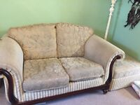FREE 2 X two seater sofas with footstool