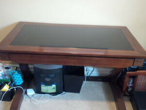 Office Computer Desk  Wood and Glass Excellent