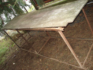 """Bench: Welded Angle Iorn Frame.  8ft. L x 24""""deep x 34""""H"""