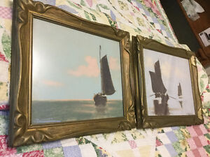 Halfred Tygesen 1939 original pastels, Original antique frames