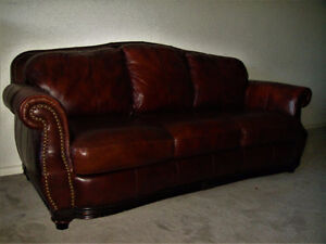 Prestige 100% Genuine Leather Couch And Loveseat, Delivery Avail
