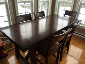 Large bar height dining table and chairs