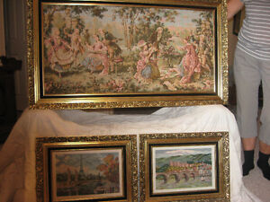 3 Piece Parisian tapestry / needle point Framed Scenes