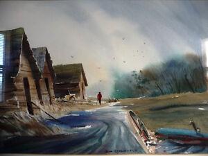 """Vintage Prairie Watercolor by John Herreilers """"Spring Rain"""" 1970 Stratford Kitchener Area image 2"""