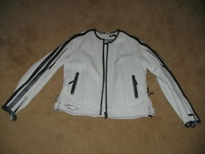 Womens white leather bikers jacket