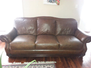 Leather couch and 2 reclining armchairs