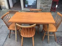 Dining Table + 4 Solid Oak Chairs - CAN DELIVER