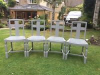 4 Dining Chairs ...painted (F&B) & upholstered (Laura Ashley)