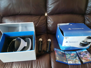 PSVR headset with wands + games
