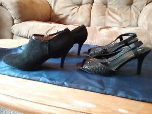 2 pair's of women's black high heeled shoes size 6