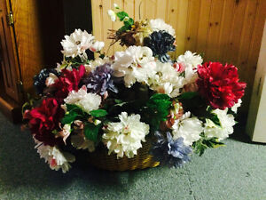 Artificial flowers in a basket London Ontario image 1