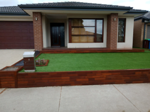 Landscaping decking synthetic grass