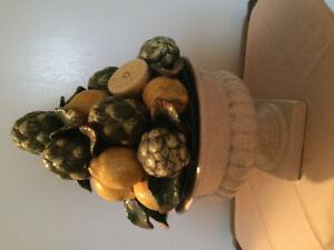 "Lge.  CERAMIC - Fruit Bowl - with Fruit 18"" high."