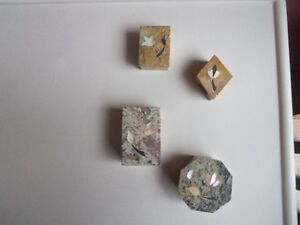 4-Collectible Jewelry Trinket Boxes Marble Stone w/ Inlaid Stone