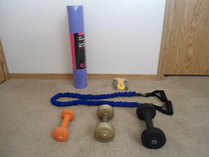 YOGA MAT, RESISTANCE BAND & WEIGHTS