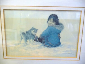 "Inuit Painting, Dorothy Francis ""Little Puglik's Playmate"" Litho Stratford Kitchener Area image 2"