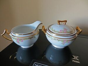 Limoges Elite Cream and Sugar, Rose pattern, EX condition