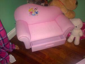 divan 2 places rose Disney Princesse NEUF a tiroir de rangement