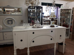 WHITE CHALK PAINTED BUFFET SIDEBOARD