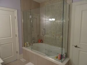 Glass Shower enclosure with 6' Jacuzzi tub
