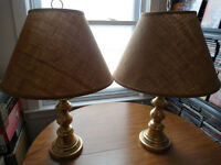 Set Of Brass Lamps For End Tables With Shades VG Condition