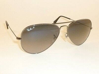 New RAY BAN Aviator Sunglasses Gunmetal Frame RB 3025 004/78 Polarized Lens 58mm